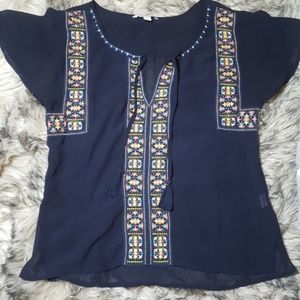 American Eagle Sheer Tribal Top - Size S